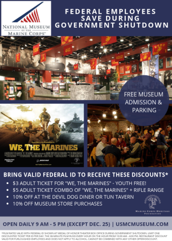 Flyer detailing Marine Museum Federal Employees Discount during Government Shutdown