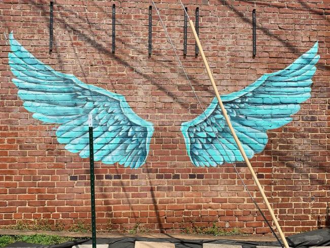 angel wings mural
