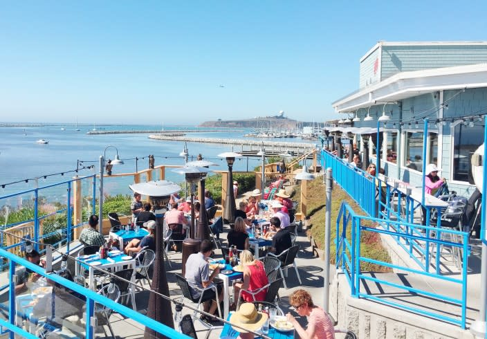 Outdoor seating at Sam's Chowder House in Half Moon Bay, CA