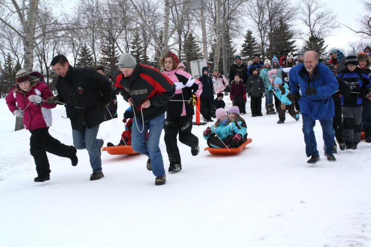 Toboggan races at the Winter Festival