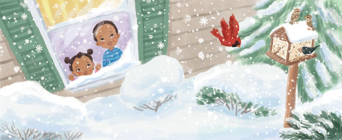 "Illustration by Talitha Shipman of a young boy and girl looking out a window at a cardinal and the first snow. Illustration is called ""First Snow"""