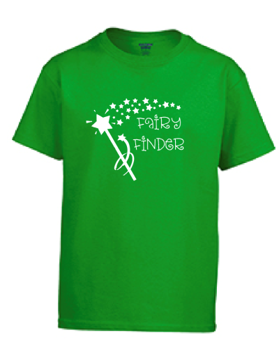 Green t-shirt with a white star want and text that says Fairy Finder