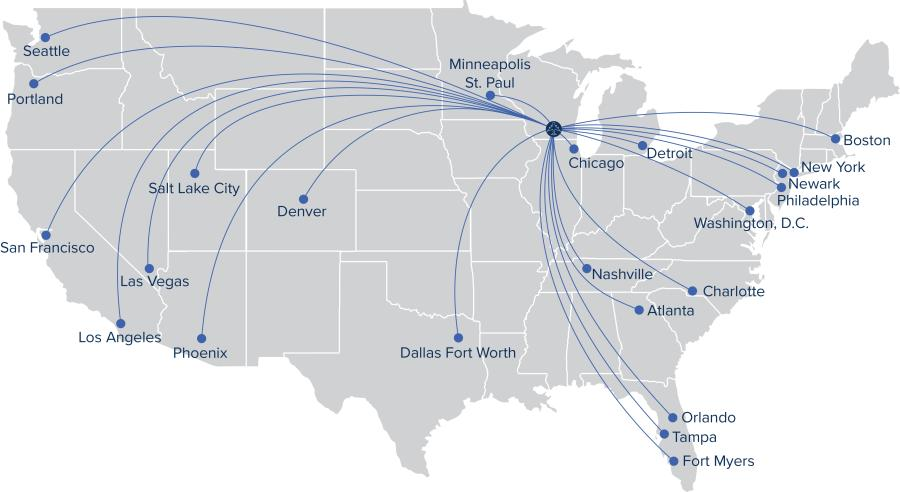 A map showing non-stop flight destinations from Dane County Regional Airport