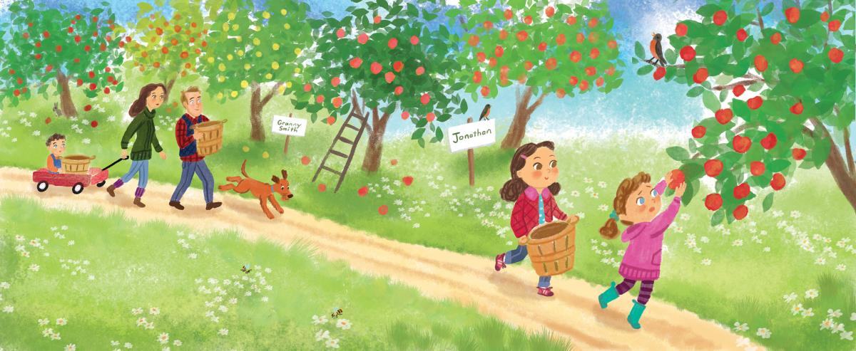 "Illustration by Talitha Shipman of a family at an apple orchard. Illustration is called ""Applesauce Day"""