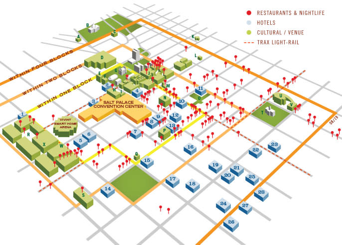 Salt Lake City Convention District Map | Why Choose Salt Lake? Map Hotels on city map, statue map, cafeteria map, resort map, in a map, guam map, airstrip map,