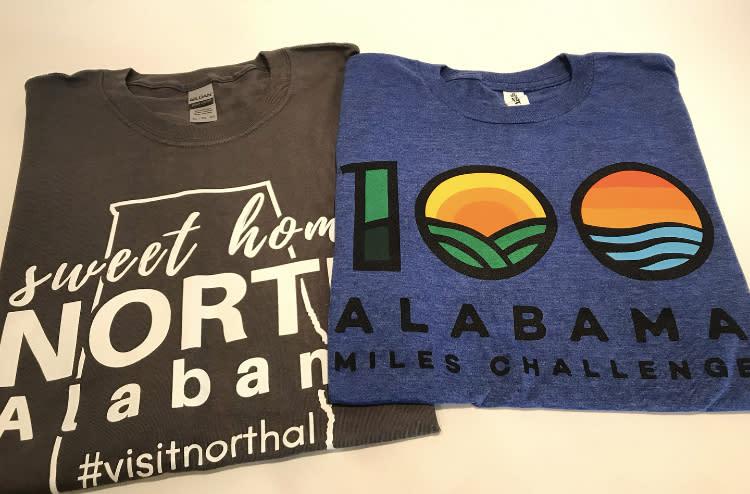100 alabama miles t-shirts