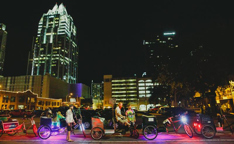 Pedi cabs downtown at night Meeting Planner Toolkit Transportation