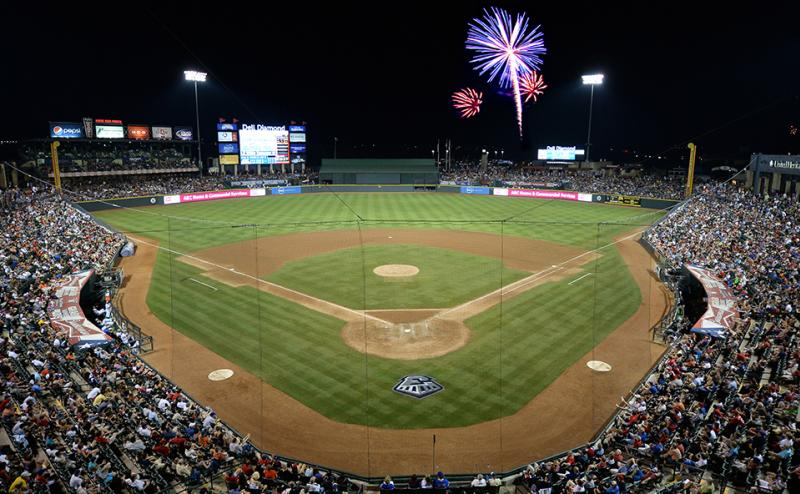 Round Rock Express services with fireworks