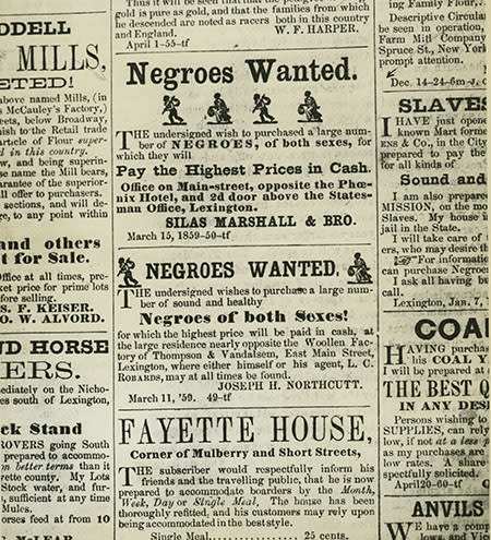 Slave Ads Lexington Newspaper