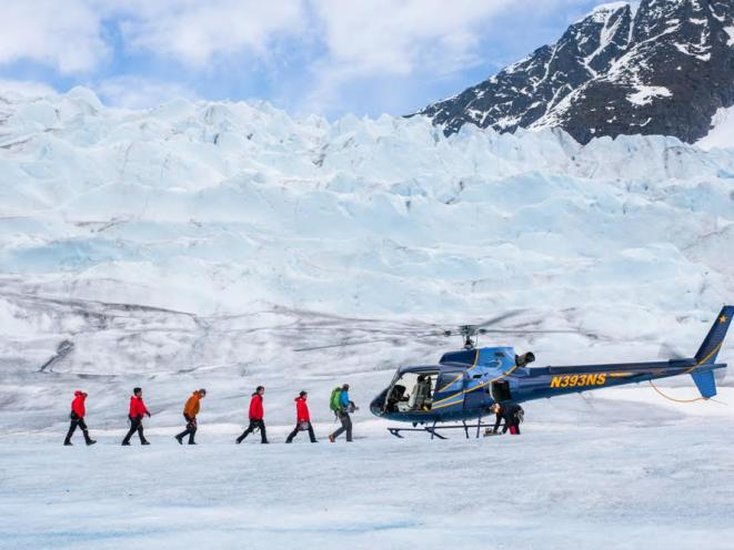 Guests Walk in Line to Heli