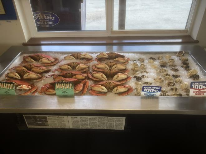 Crab and oysters