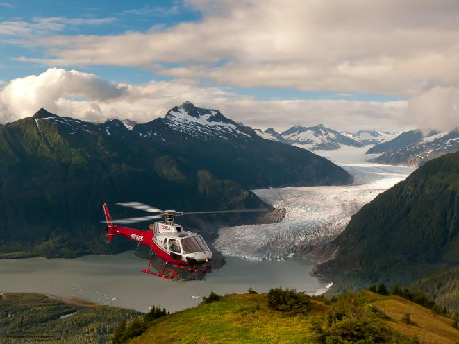 Helicopter with Mendenhall Glacier