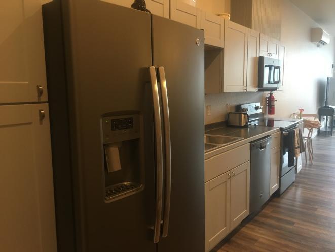 Kitchen in studio apartment 201