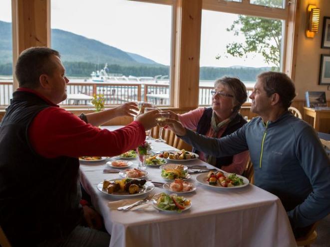 Orca Point Lodge - Enjoying Dinner
