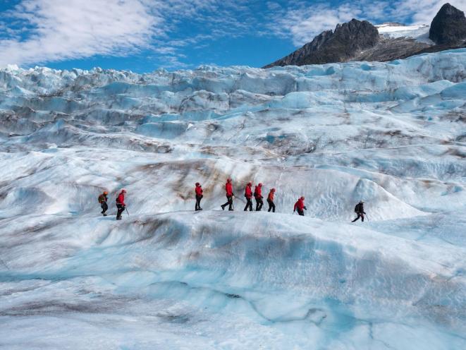 Wide Shot Guests on Glacier