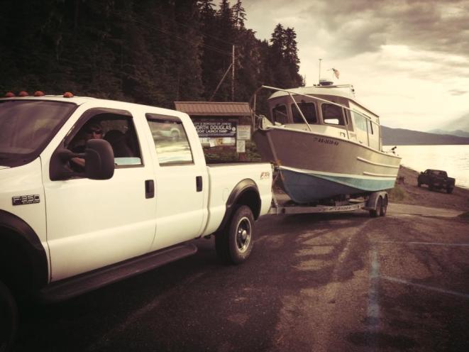 Truck pulling boat