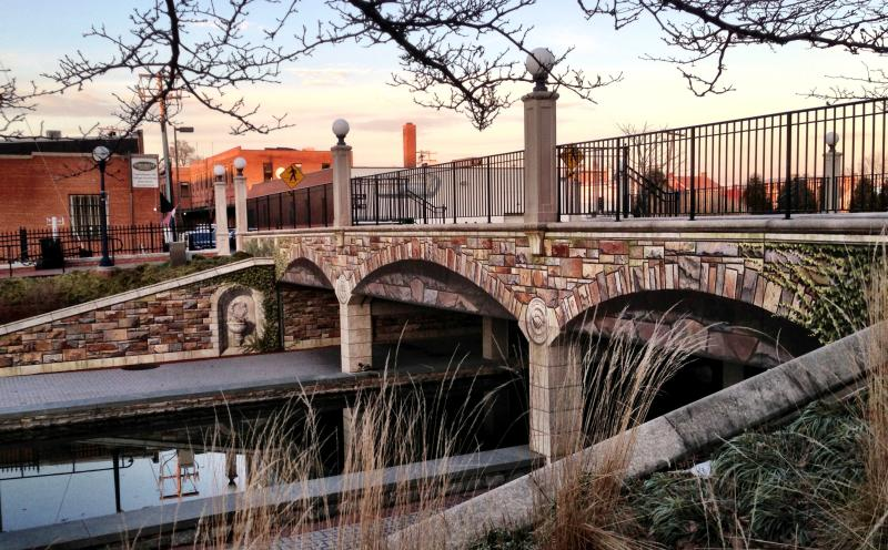 Community bridge with unique tiles in Carroll Creek Park