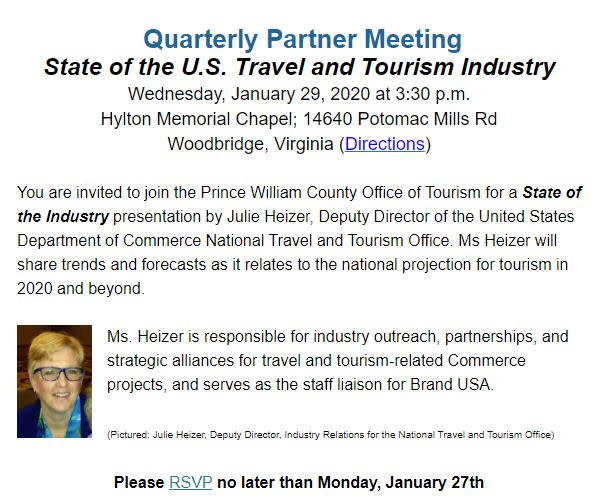 Prince William County Office of Tourism for a State of the Industry Presentation