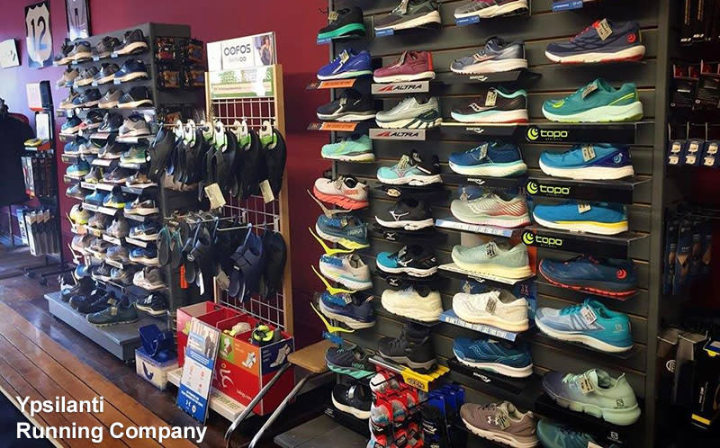 Ypsilanti Running Company shoe wall