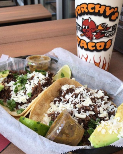 Tray of tacos from Torchy's Tacos