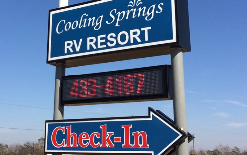 Cooling Springs RV Resort Sign and Phone Number