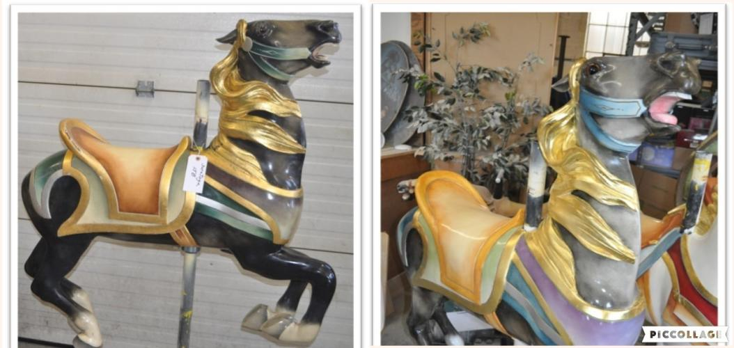 Two-photo collage showing before and after refurbishments pics of one of the carousel horses