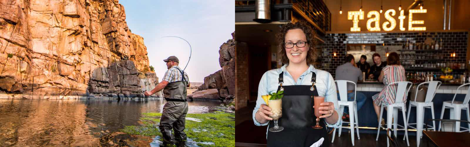 A man wearing full waders is fly fishing in Fremont Canyon surrounded by high rock cliffs on a trip to Casper, Wyoming and A female server wearing a leather apron and a big smile  is standing with two cocktails in her hands.