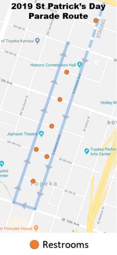 Topeka St. Patrick's Parade Restroom map