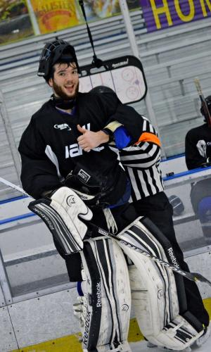 hockey goalie gives a thumbs up at the Bill Gray's Ice Plex