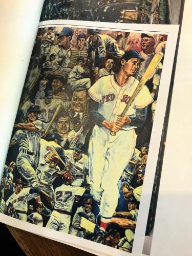 Red Sox player holding bat, caricatures of many other plalyers behind him