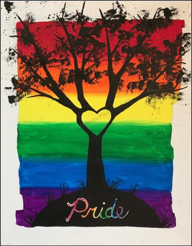 "Painting of tree with heart and rainbow color background with ""pride"""