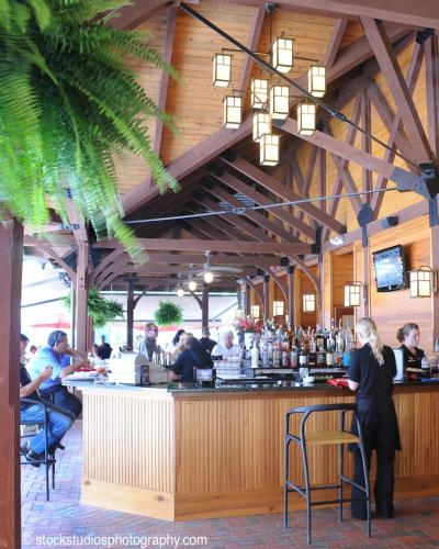 Long shot of wooden outdoor bar at Fasig Tipton in Saratoga Springs