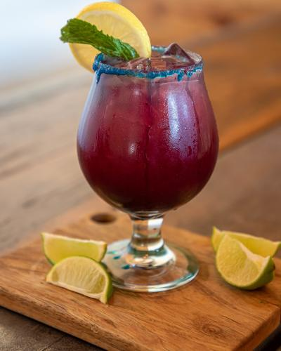 blueberry punch with limes and lemon