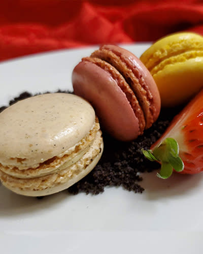 Trio of Macaroons, Cookie Soil, Fresh Berries, Mint