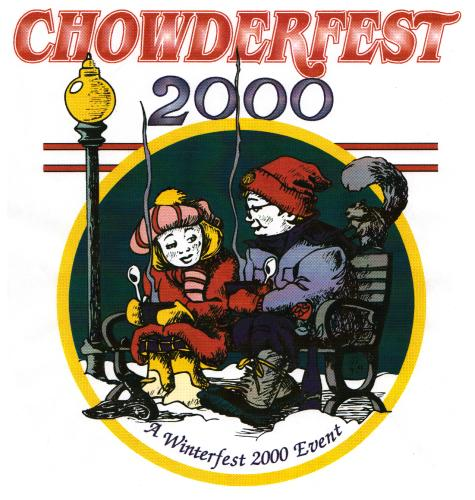 2000 Chowderfest logo with boy and girl sitting on bench and steam coming up from their soup bowls