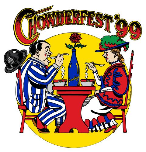 1999 Chowderfest logo with cartoon man and woman sitting at table with spoons to their mouths