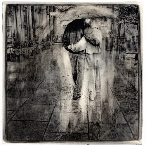 Etching of two people under umbrella by Michael Reiger