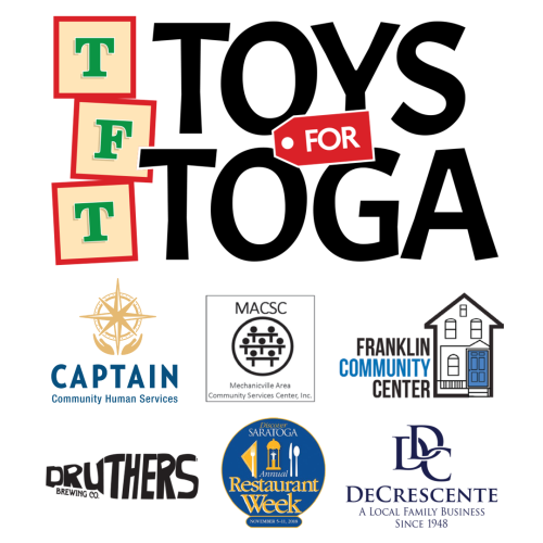Toys for Toga logo with partner and charity logos