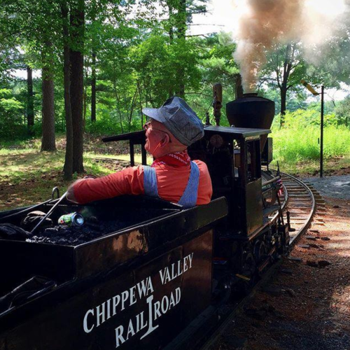 Train conductor on the Chippewa Valley Railway