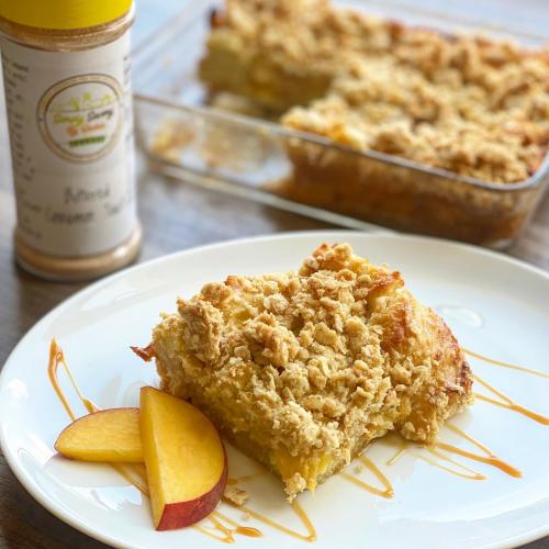 A slice of peach cobbler backed with spice from the Dayton-area Simply Savory spice company.
