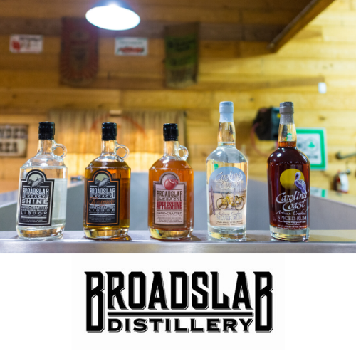 Broadslab Distrillery bottles of product located in Benson, NC.