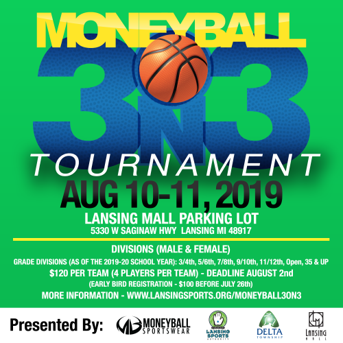 Moneyball 3 on 3 flyer logo 2019
