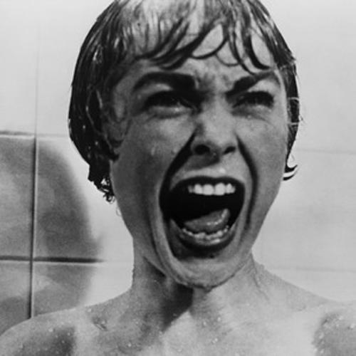 A classic photo from the movie psycho of the woman screaming in the shower