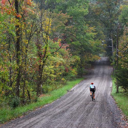 Cyclist on Trail in Fall