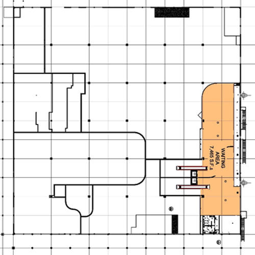 Map of Cruise Terminal 19 second floor layout