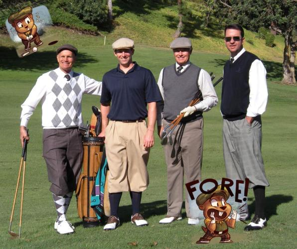 Golf foursome in knickers, vests, hats and argyle socks with old fashioned clubs