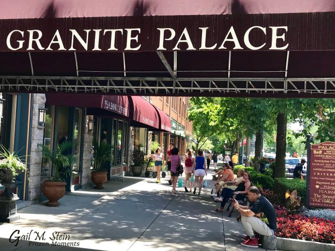 Flower beds by the Granite Palace awning