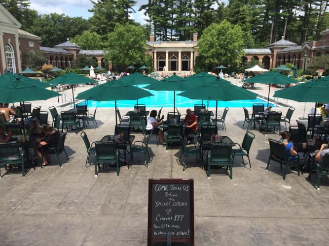 Catherine's in the Park patio area with pool at Saratoga Spa State Park