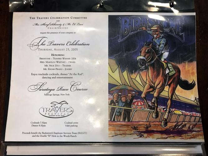 Hud Armstrong Travers party invite with text on left and photo of jockey on Birdsong on the right.