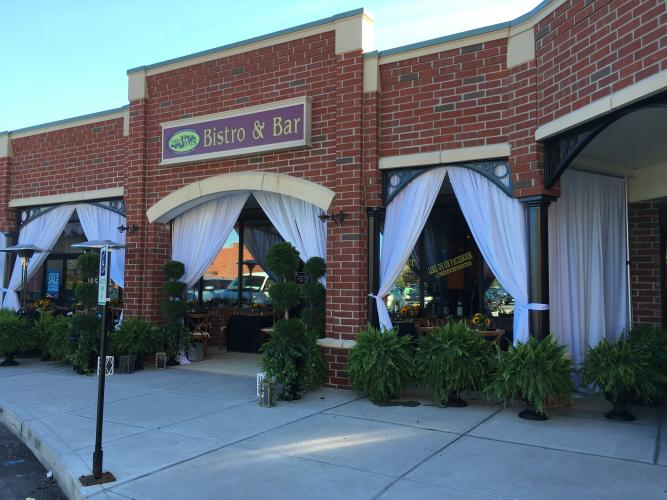 Exterior shot of Three Vines Bistro in Saratoga Springs NY